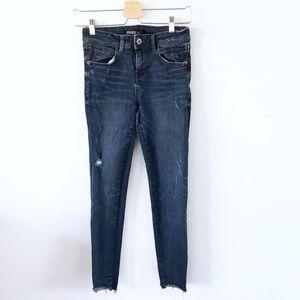 Zara Skinny Jeans Raw Hem Dark Wash Sz 4